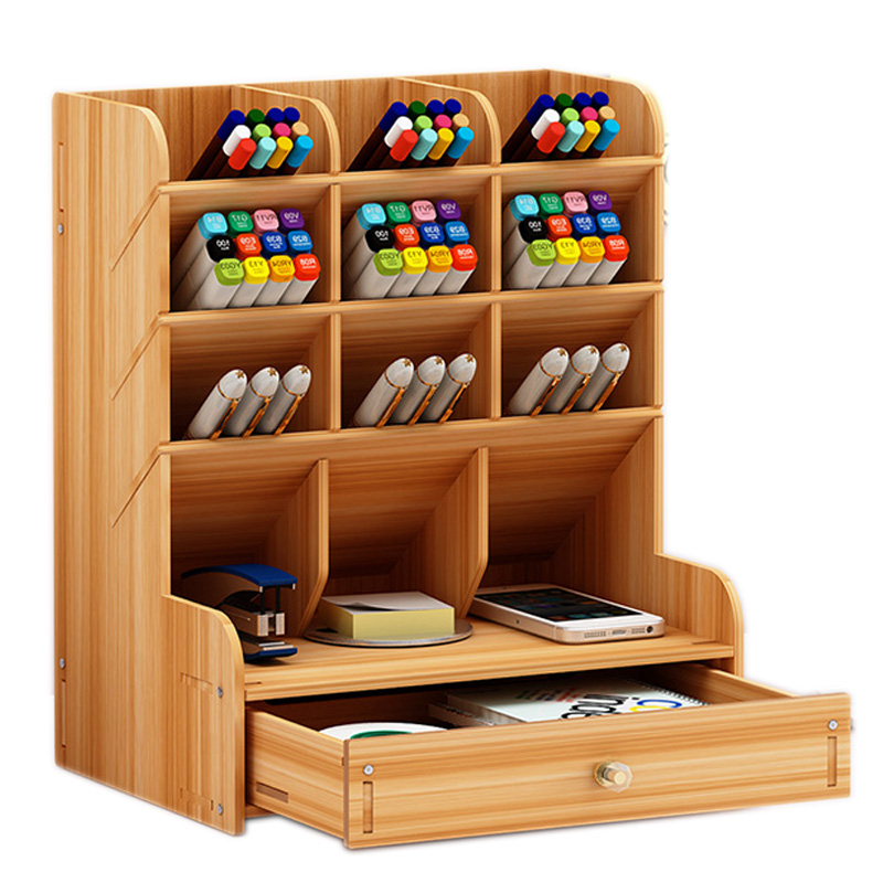 Multifunctional Wooden 13 Grid Desktop Bracket Pen Pencil Storage Box Pencil Creative Pen Small Lattice Desk Display Stand