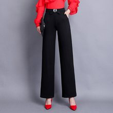 Casual Pants Women 2019 Autumn New Elastic Waist Straight Pants Suit Pants Solid Black Loose Long Female Trousers jyss autumn new casual elastic waist pants women belt yellow gray plaid pants long straight trousers women active wear 81221