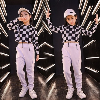Fashion Jazz Dance Costumes Kids Hiphop Street Dance Rave Outfit Stage Performance Clothing Dancing Practice Wear 2 Pcs DF1734
