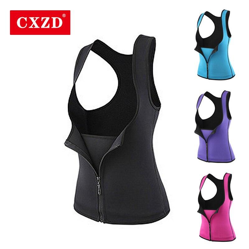 CXZD Women Neoprene Sauna Sweat Waist Trainer Vest With Zipper For Weight Loss Gym Workout Body Shaper Tank Top Shirt