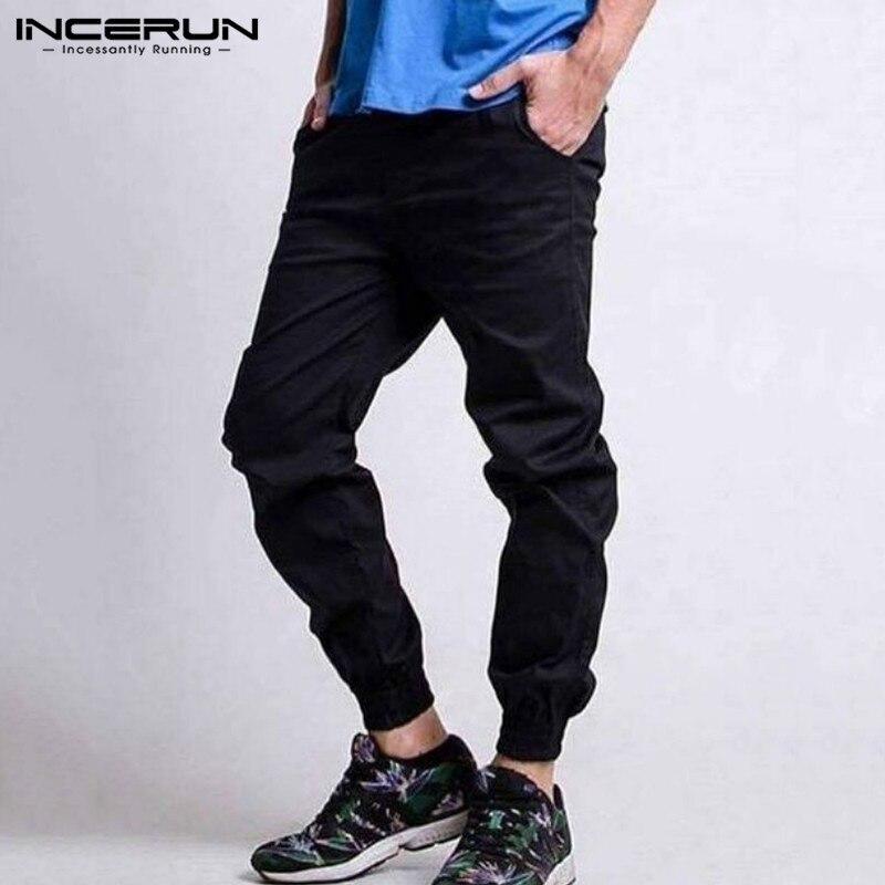 2020 Men Pants Solid Color Button Pockets Joggers Casual Trousers Men Streetwear Fitness Fashion Pantalones Hombre S-5XL INCERUN