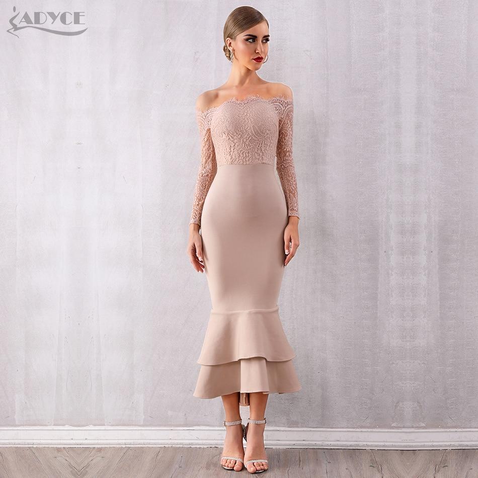 ADYCE Summer Women Off Shoulder Lace Bandage Dress Celebrity Party Dress Vestidos Sexy Long Sleeve Slash Neck Bodycon Club Dress