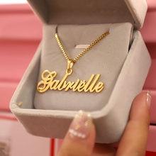 Altın kutu zincir özel takı kişiselleştirilmiş adı kolye kolye el yapımı el yazısı tabela gerdanlık kadın erkek Bijoux BFF hediye