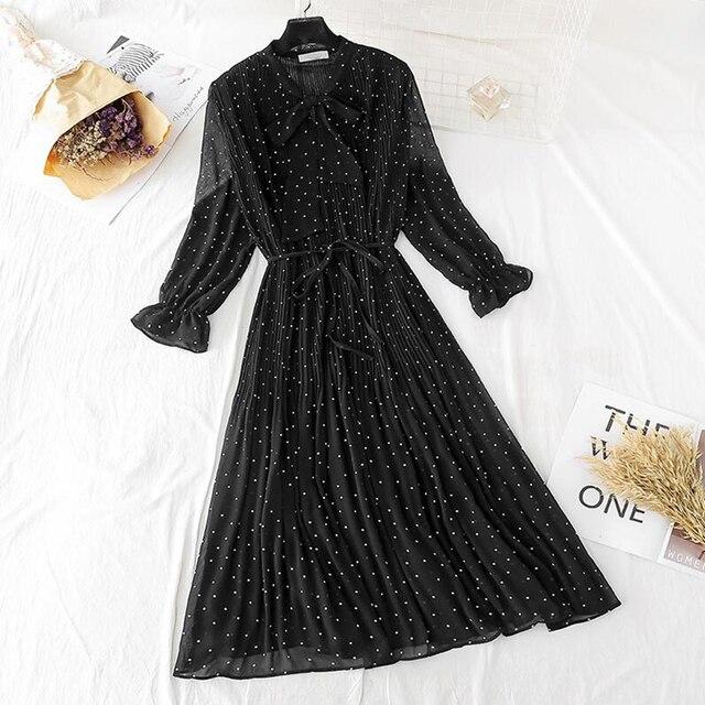 Polka dot elegant women dress casual Flare sleeve long party dress bow Dot print Pleated chiffon dresses vintage vestido 4