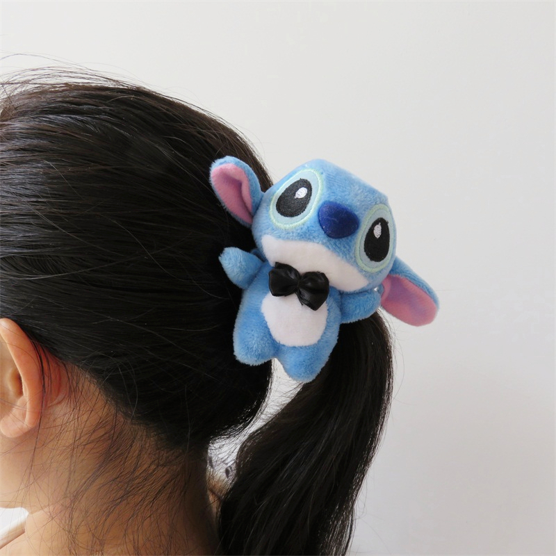 Cartoon Stitch Plush Toys Nature Rubber Bands Girls Hair Elastics Accessories Girl Head Wear Christmas Birthday Gifts