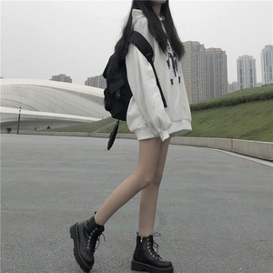Image 4 - Hoodies Women Loose Thickening Printed Korean Style Students Solid Hip Hop Sweatshirts Hooded New All match BF Ulzzang Casual