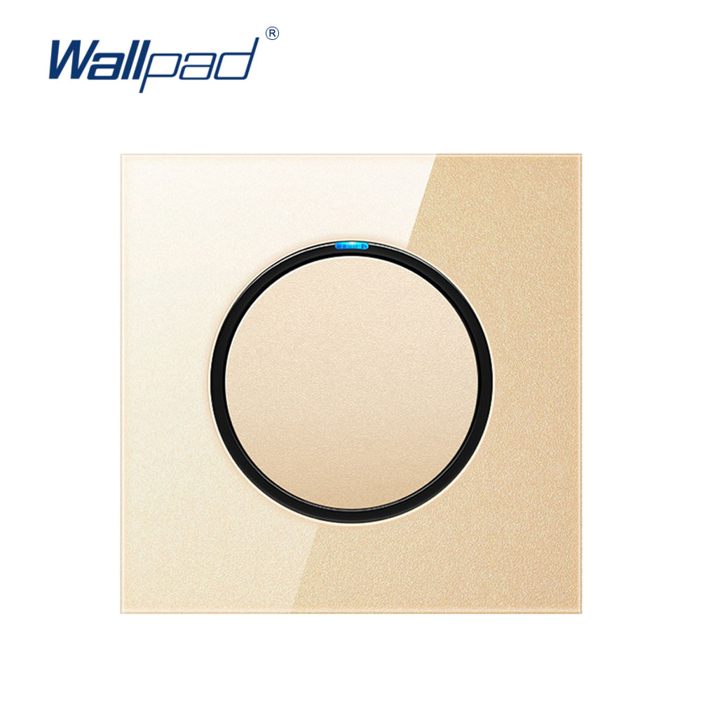 Wallpad 2019 New Arrival Random Click Wall Light Switch With LED Indicator Wall Power Socket Gold Crystal Glass Panel For Home