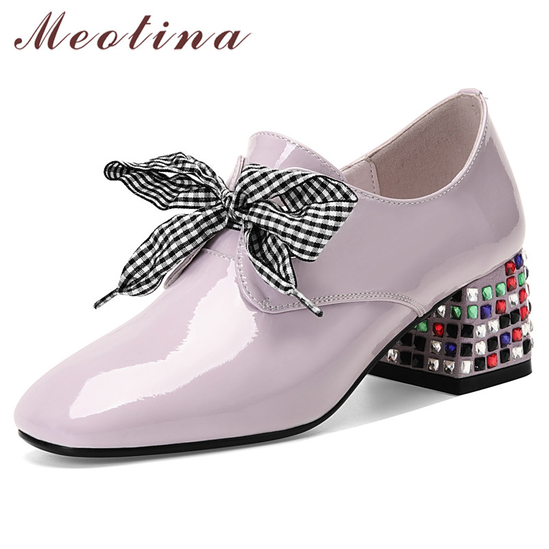 Meotina High Heels Women Pumps Natural Genuine Leather Thick High Heels Shoes Cow Patent Leather Crystal Round Toe Shoes Lady 42