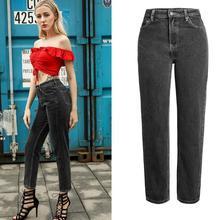 Jean Trousers Denim Pants Straight-Leg Loose Dark-Gray High-Waist Cotton Women Slim-Fit