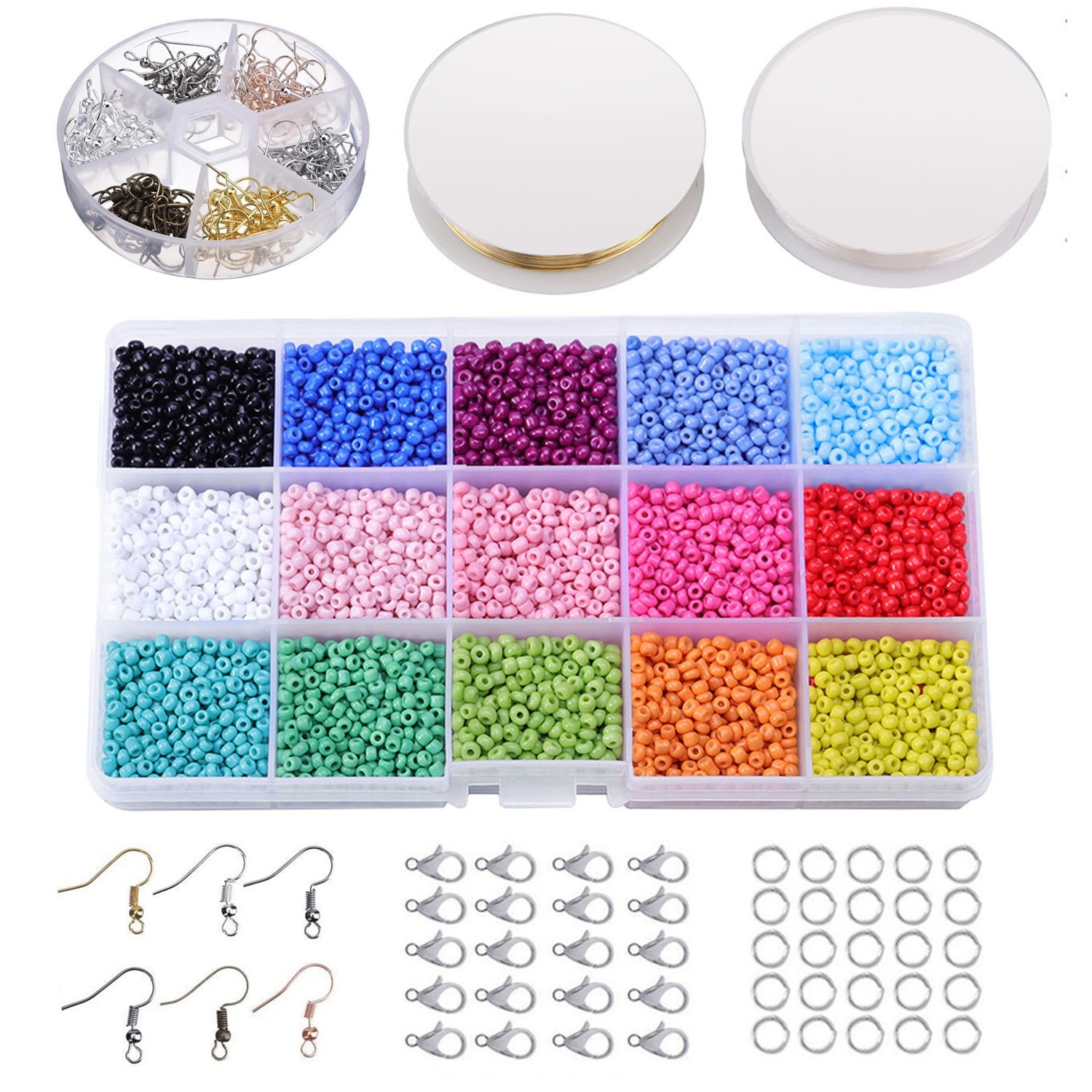 Kids Colorful Mini Glass Beads Thread Wire Earring Hooks DIY String Beaded  Making Jewelry Necklaces Bracelets Accessory Toy