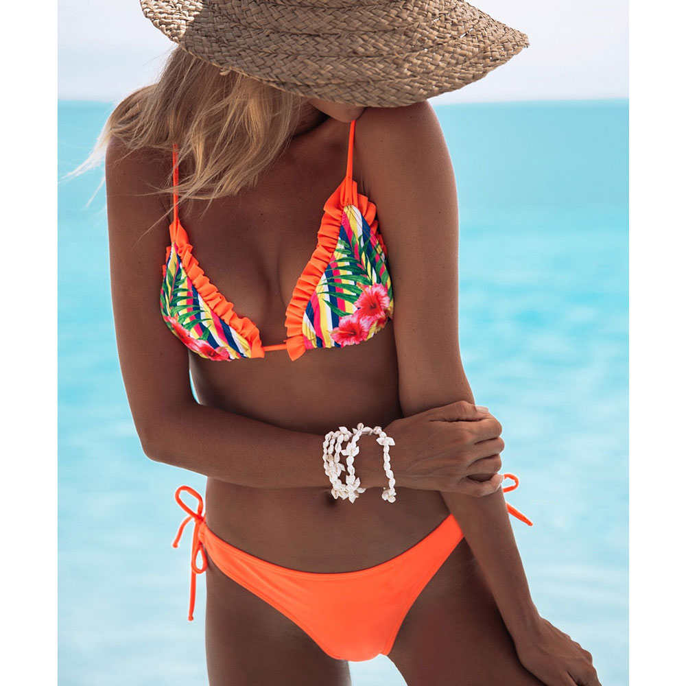 2019 Hot Retro  Women Swimsuit Ruffled Micro Bikini Set Bathing Suits With Halter Strap Swimwear Brazilian bottom Biquinis