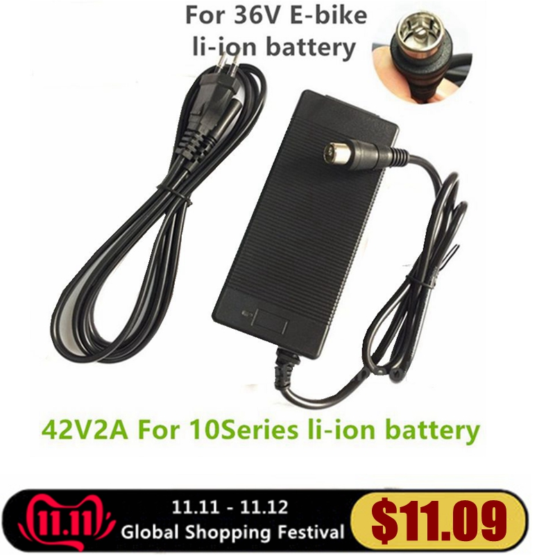 1 Pc Best Price 42V2A 42V 2A Lithium Battery Charger For 36V Lithium Battery Pack RCA Plug 42V2A Charger