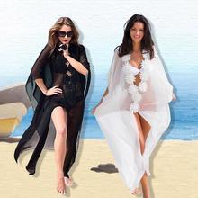 Honeymoon Dress Beach Cover Up Lace Tunic Pareos Swimwear Women 2019 Bikini Chiffon Swimsuit