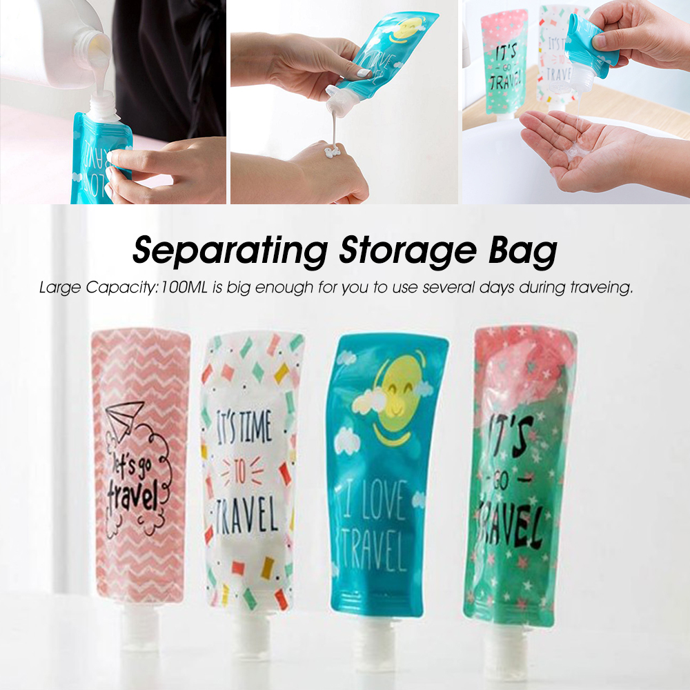 3 Sized Creative Travel Silica Gel Toiletries Sub Bottle Shampoo Shower Storage
