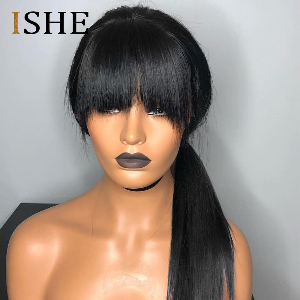 Bang Wig Human Hair 99J Bob Lace Front Wigs With Bangs For Black Women Ombre Human Hair Wig Pre Plucked Lace Wig Remy Hair ISHE