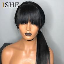 Bang peruka ludzki włos 99J Bob koronki przodu peruki z grzywką dla czarnych kobiet Ombre ludzki włos peruka wstępnie oskubane koronki peruka Remy włosy ISHE