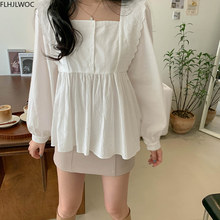 Peplum Tops Belly Long-Sleeve Cute Shirts Vintage Japan-Style Casual Plus-Size Cotton
