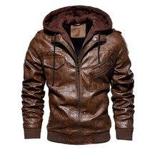 Мужские Куртки из искусственной кожи, верхняя одежда, кожаная байкерская куртка с капюшоном, Мужская крутая мотоциклетная куртка, Мужская зимняя осенняя куртка для мотоциклистов 4XL