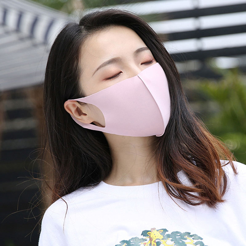Ice Silk Cotton  Mouth Mask Breathable Unisex Face Mask Reusable Anti Pollution Face Black White Pink Blue Mouth Mask Muffles