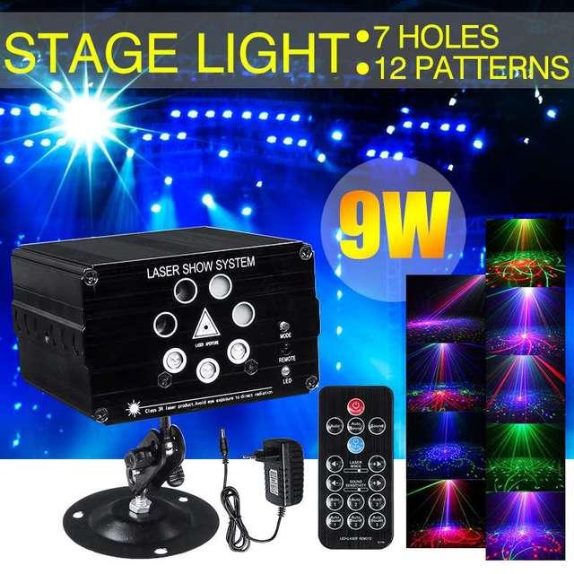 Proyector de luz láser activada por sonido con patrones de 120, luz LED de 9W para discoteca DJ, música, RGB, lámpara para Navidad, fiesta en casa KTV