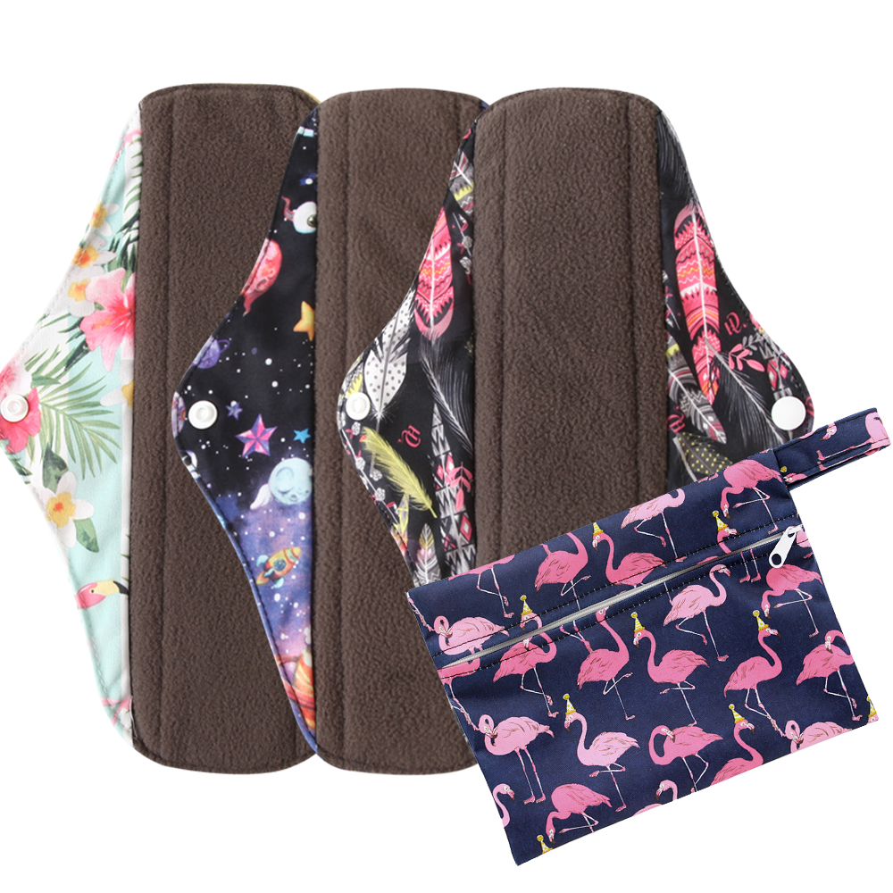 Ohbabyka 3Pcs Set Woman Menstrual Pads Reusable Washable Panty Liner Charcoal Bamboo Layer Sanitary Pads with 1 Cloth Wet Bag(China)