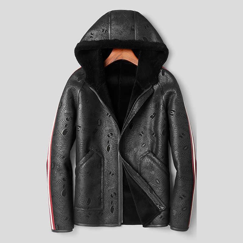 Мех  мужской натуральной кожи куртка из овечьей шерсти пальто мужские короткие мотоциклетные кожаные куртки с капюшоном мужские зимние кожаные пальто