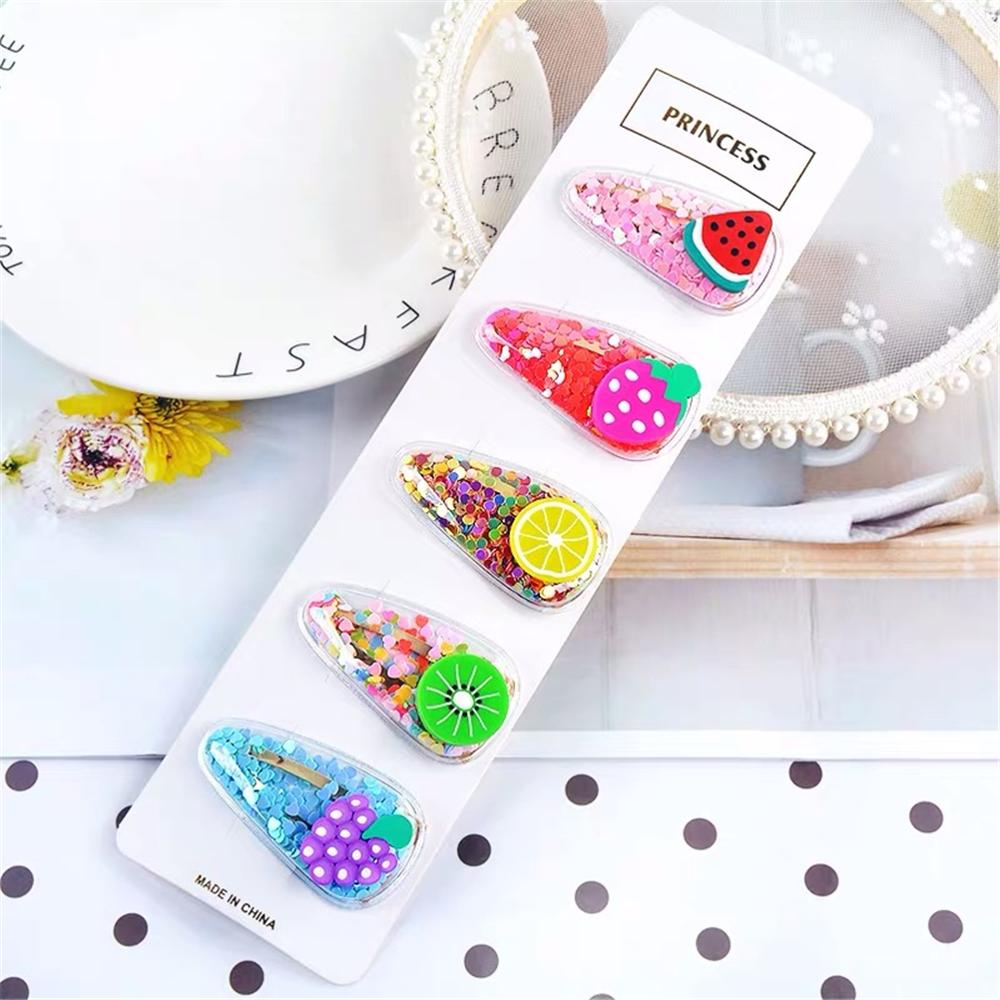 2019 New Cute Colorful Sequins Fruit Hair Clips Children Fancy Lemon Hairpins Barrettes Hairgrip Kids Headwear Hair Accessories in Hair Accessories from Mother Kids
