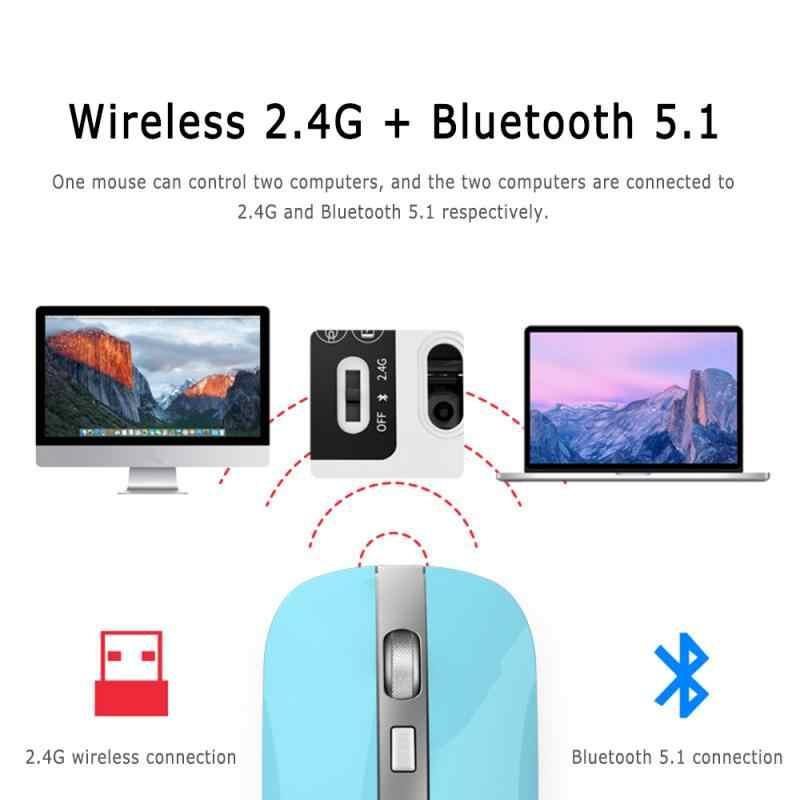 Aluminium Dual Mode Bluetooth 5.1 + 2.4G Draadloze Stille Muis 1600 Dpi Ultra Dunne Draagbare Optische Muizen Voor Imac macbook Pc Telefoon