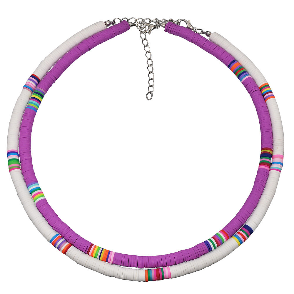 Купить с кэшбэком 2020 6mm 10 Colors Polymer Clay Necklace Soft Pottery Choker Necklace Colorful Surfer Beads Collar Handmade Femme Jewelry Gifts