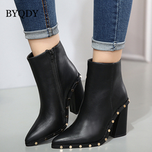 BYQDY Autumn Fashion High Heels Ankle Boots Woman Studded Winter Round Rivet Decoration Pointed Thick Heel Shoes