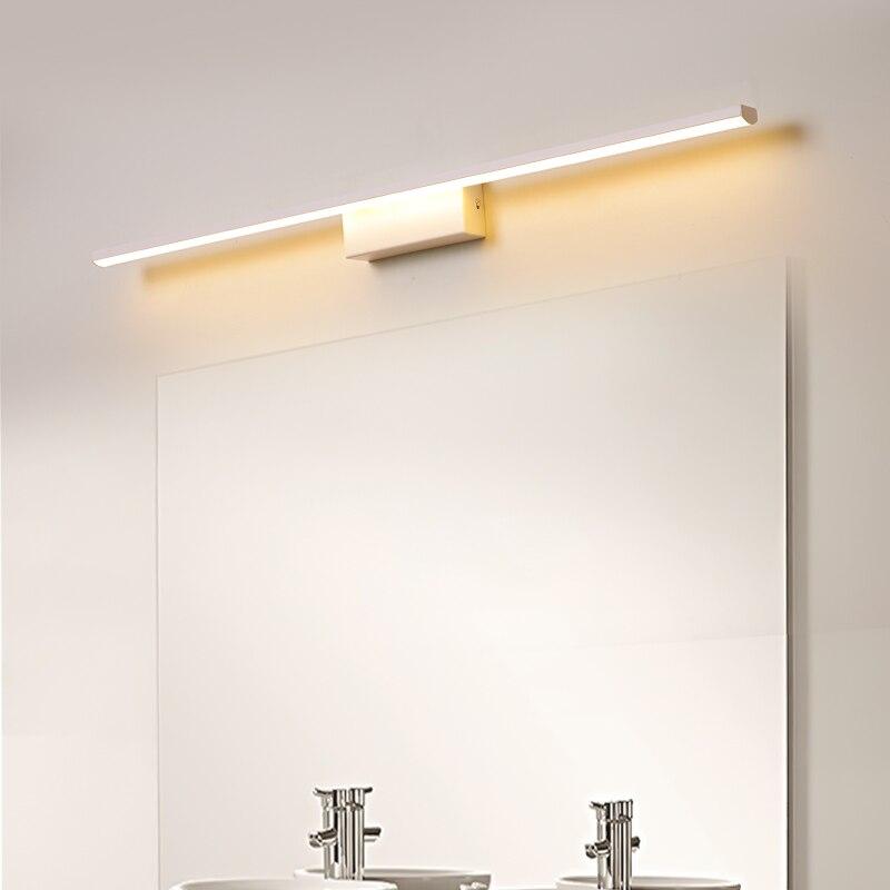 led espelho luzes para banheiro de cabeceira moderna frente espelho lampada fosco preto branco terminou led