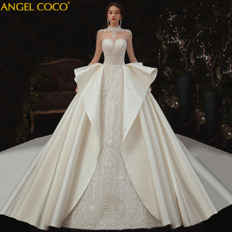 Wedding Dress 2020 Luxury crystal fashion Cathedral Train Satin white wedding gowns weeding dress bride bridal dress celebrity