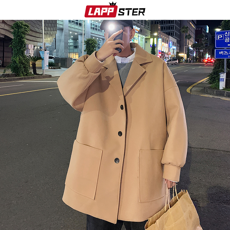 LAPPSTER Men Korean Fashions Wool Trench Coat 2020 Overcoat Mens Japanese Streetwear Winter Coat Harajuku Khaki Jackets Coats