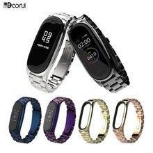 BOORUI Edelstahl mi band 3 4 5 strap metall ersatz für xiaomi mi band 3 4 strap pulseira mi band 4 metall handgelenk gurt
