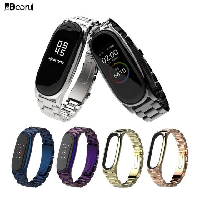 BOORUI  Stainless Steel mi band 3 4 5 strap metal replacement for xiaomi mi band 3 4 strap pulseira mi band 4 metal wrist strap