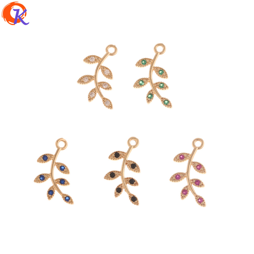 Cordial Design 50Pcs 11*17MM Jewelry Accessories/CZ Charms/Leaf Shape/Pendant/DIY Jewelry Making/Hand Made/Earring Findings