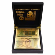 Zimbabwe Banknotes One Vicintillion Dollars 24K Gold Banknote with UV Light for Souvenir and Collection Gifts 100pcs/lot