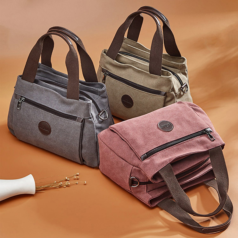 Woman Canvas Handbags Casual Lady Hobos Single Shoulder Bags Girls Crossbody Pack Vintage Solid Multi-pocket Ladies Totes Bolsas