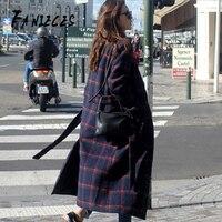 Wool & Blends coat female long Houndstooth 2019 autumn winter commuter belt waist over the knee wool OL overcoat płaszcz damski