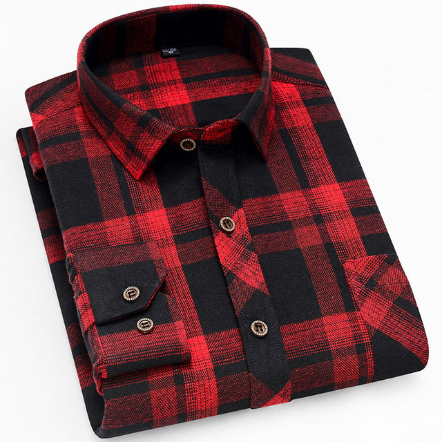 18 Colors 2019 Autumn Winter Warm Thick Mens Dress Shirt Casual Plaid Shirt Men  Brand Quality Cotton Social Business Shirt Men 34