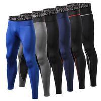 Мужские беговые лосины для фитнеса эластичные; Компрессионные спортивные Леггинсы спортивные дышащие быстросохнущие спортивные брюки