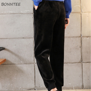 Image 5 - 女性の冬 2020 大サイズ暖かいプラスベルベット固体レジャースポーツレディースハーレムパンツ韓国スタイル巾着女性シックな