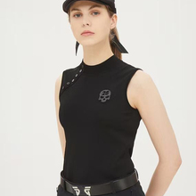 New Golf Ladies Sleeveless T-Shirt Sports Ice Silk Knitting Self-Cultivation Breathable Back Drilling Skull Golf Clothing