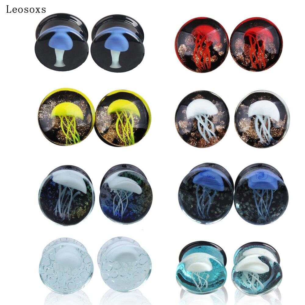 Leosoxs 2 шт 8-16 мм затычки и тоннели серьги для расширения ушей морская Медузы популярные ювелирные изделия для женщин