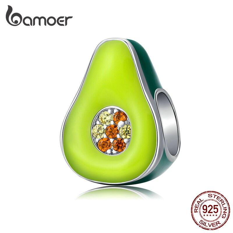 Bamoer 925 joyería de plata de ley esmalte verde aguacate fruta encanto para pulsera de plata Original 3mm mujeres fabricación de joyas BSC129
