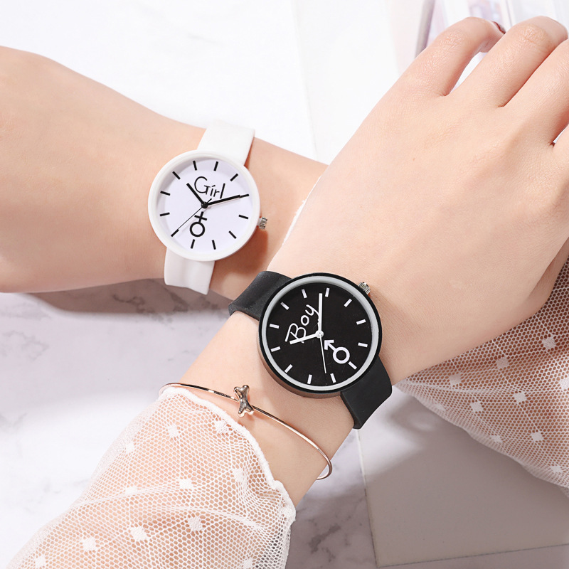 For School Student Watch For Boy Girl Watches Fashion Black White Children's Clock Safety Silicone Watchband Hour Kids Date