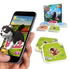 4d animal cartão dos desenhos animados brinquedos educação sensorial diversão 68 pcs aprendizagem palavra vr cartão educação precoce montessori brinquedos 6y natal