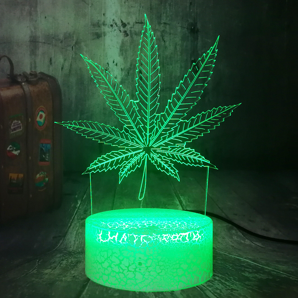 Beautiful Weed Hemp Leaf 3D LED Night Light Baby Party Bedroom Decoration Sleep Desk Table Lamp Holiday Birthday Christmas Gifts