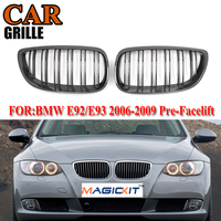 MagicKit 1pair Grille For BMW 3 series E92 E93 06 09 2 doors Carbon Fiber Look Double Line Car Wide Kidney Grill Racing Grilles|Racing Grills| |  -