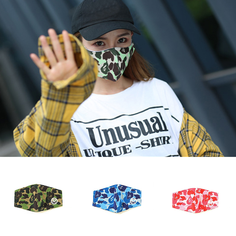 Women Face Pink Shield Wind Proof Flower Mouth Cover Anti-Haze Mouth Mask Breathable Cotton Fashion Black Reusable  Masks